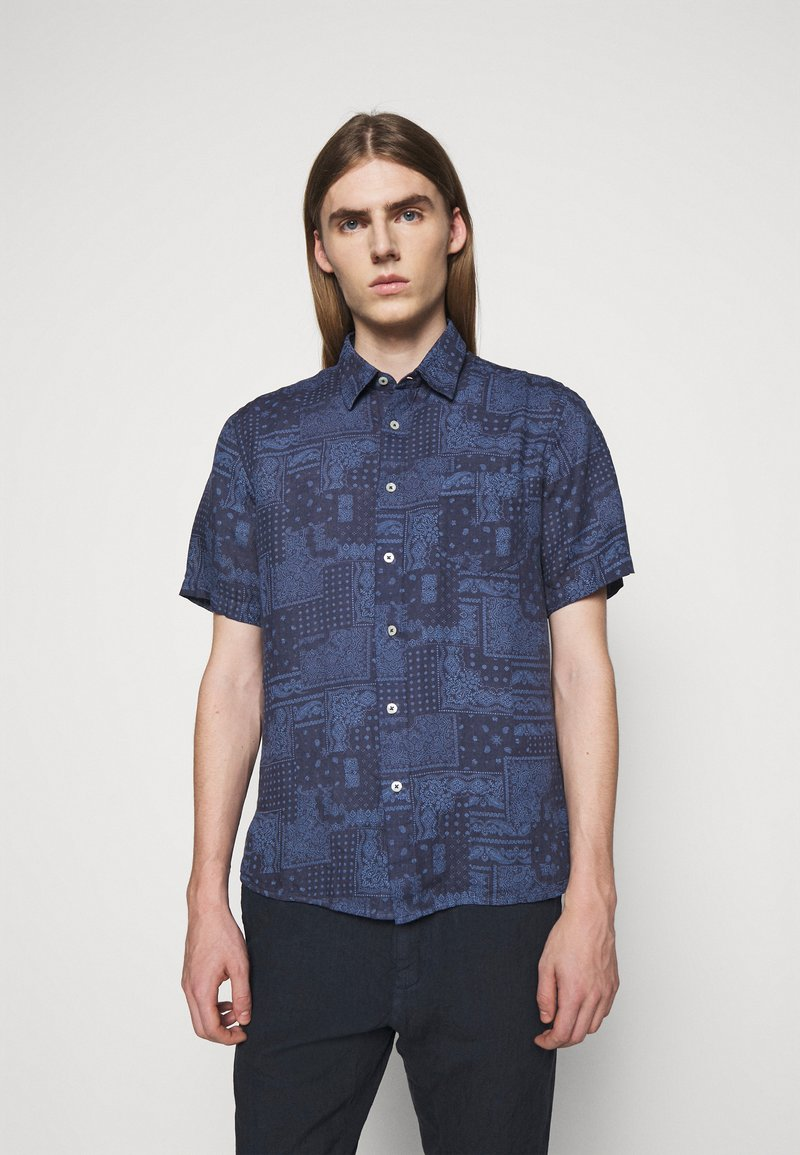 120% Lino - SHORT SLEEVE REGULAR FIT - Camicia - blue navy