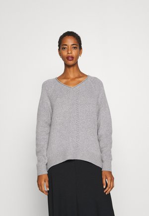 V NECK - Strickpullover - light grey melange