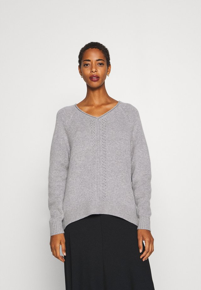 V NECK - Sweter - light grey melange