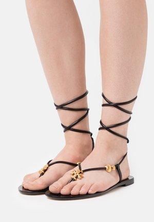 CAPRI FLAT LACE UP - Sandály s odděleným palcem - perfect black