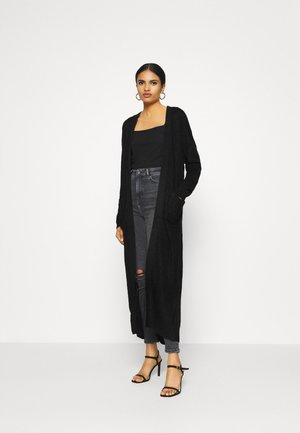 LONGLINE PATCH POCKET CARDI - Vest - black