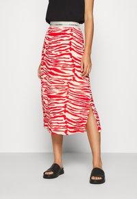Calvin Klein - ZEBRA PRINT LOGO SKIRT - A-line skirt - red - 0