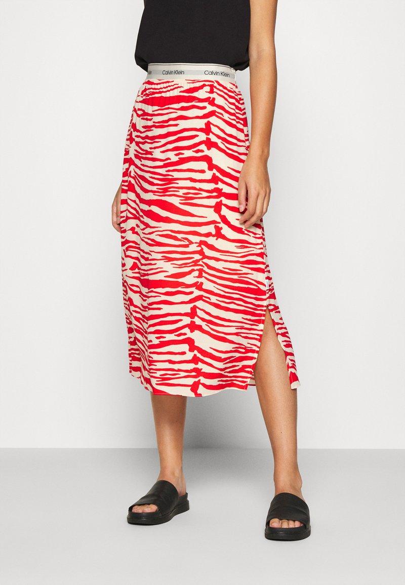 Calvin Klein - ZEBRA PRINT LOGO SKIRT - A-line skirt - red