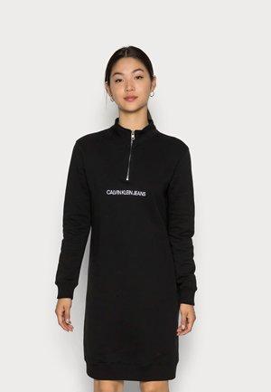 VERTICAL MONOGRAM HALF ZIP DRESS - Day dress - black