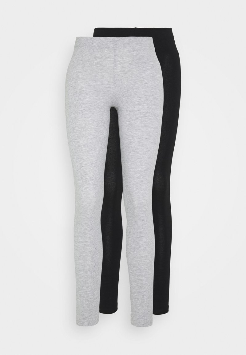 Even&Odd - 2 PACK - Leggings - mottled light grey/black