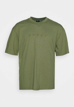 KATAKANA EMBROIDERY - T-shirt imprimé - martini olive