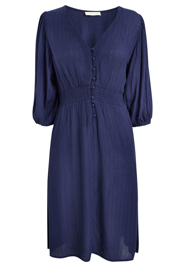 WHITE FLORAL KAFTAN - Shirt dress - blue