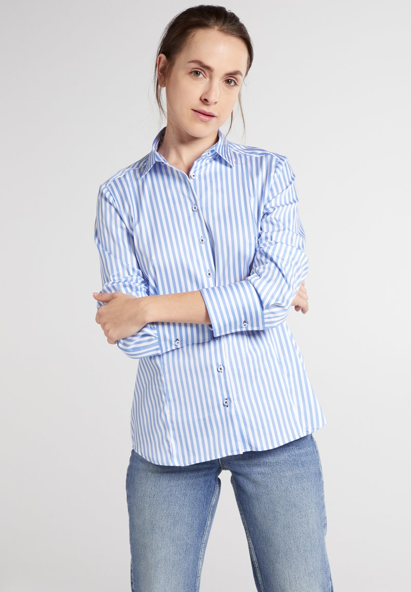 Eterna - MODERN CLASSIC - Overhemdblouse - hellblau/weiß