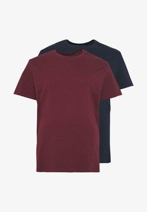 2 PACK - Basic T-shirt - dark blue/bordeaux