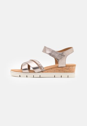 Sandalias de cuña - taupe metallic