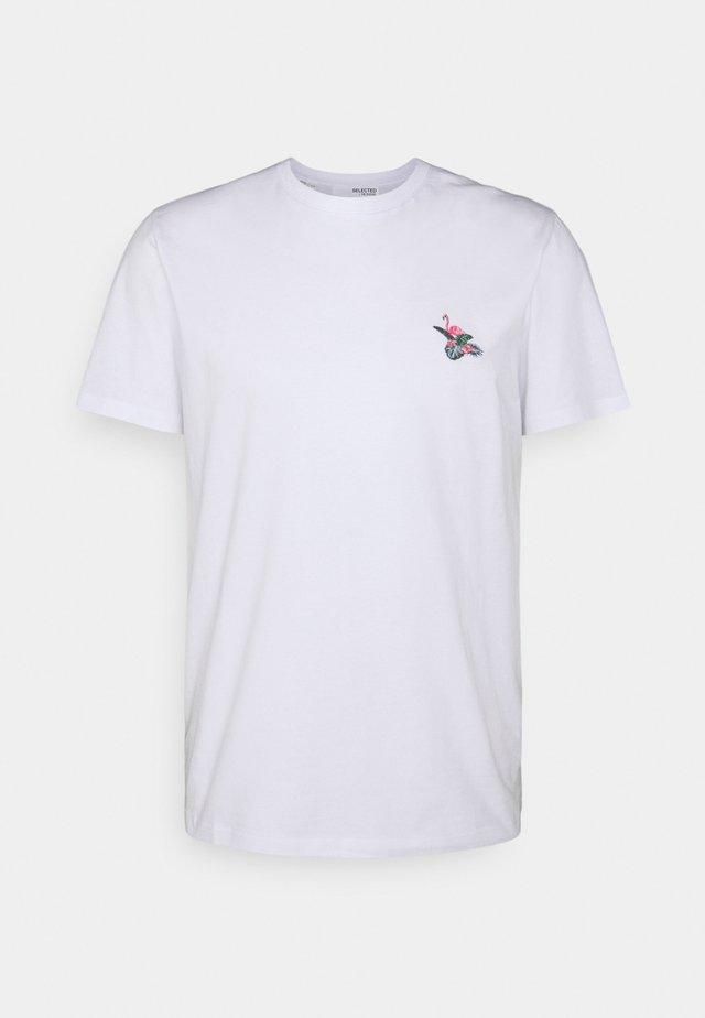 SLHHOLIDAY O NECK TEE - T-shirt basic - white