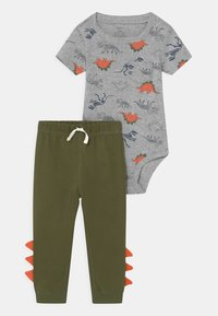 Carter's - DINO SET - Print T-shirt - khaki/grey - 0