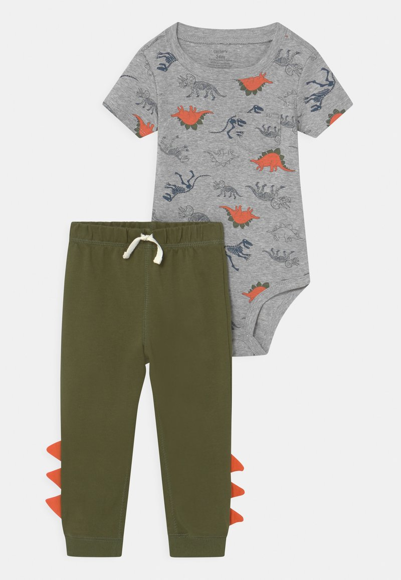 Carter's - DINO SET - Print T-shirt - khaki/grey