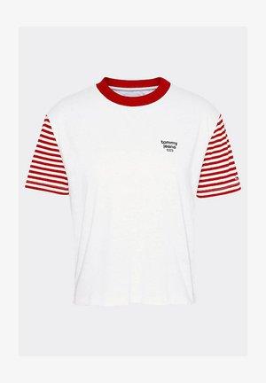 TJW STRIPED SLEEVE TEE - Print T-shirt - weiß
