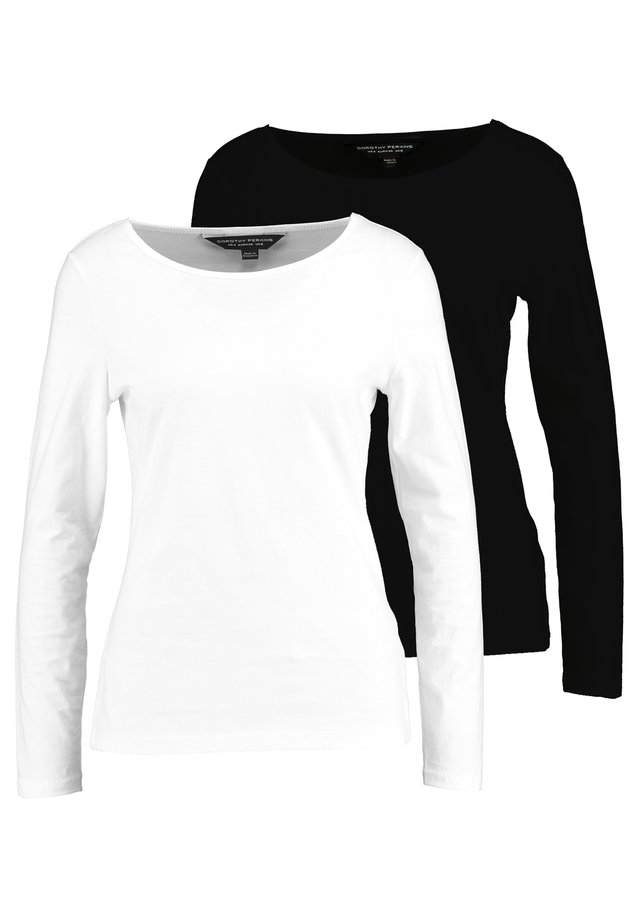 LONG SLEEVE CREW 2 PACK - Maglietta a manica lunga - black/white
