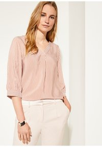 comma - MIT MUSTER - Blouse - cognac pinstripes - 0