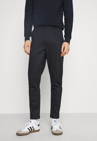 Kronstadt - CLUB JOGGER TEXTURE PANTS - Trousers - navy check - 0
