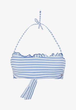 SEERSUCKER STRUCTURED BANDEAU - Bikiniöverdel - seersucker blue