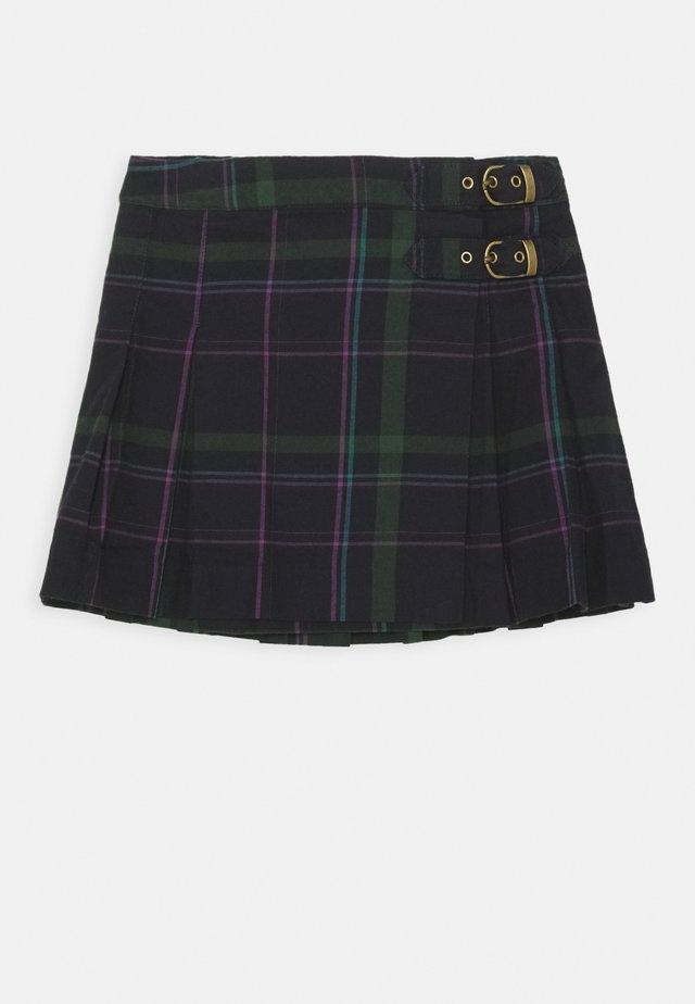 PLAID KILT BOTTOMS SKIRT - Spódnica plisowana - navy