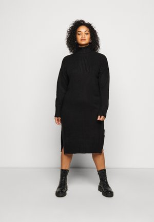 YOKE ROLL NECK SWEATER DRESS - Trui - black