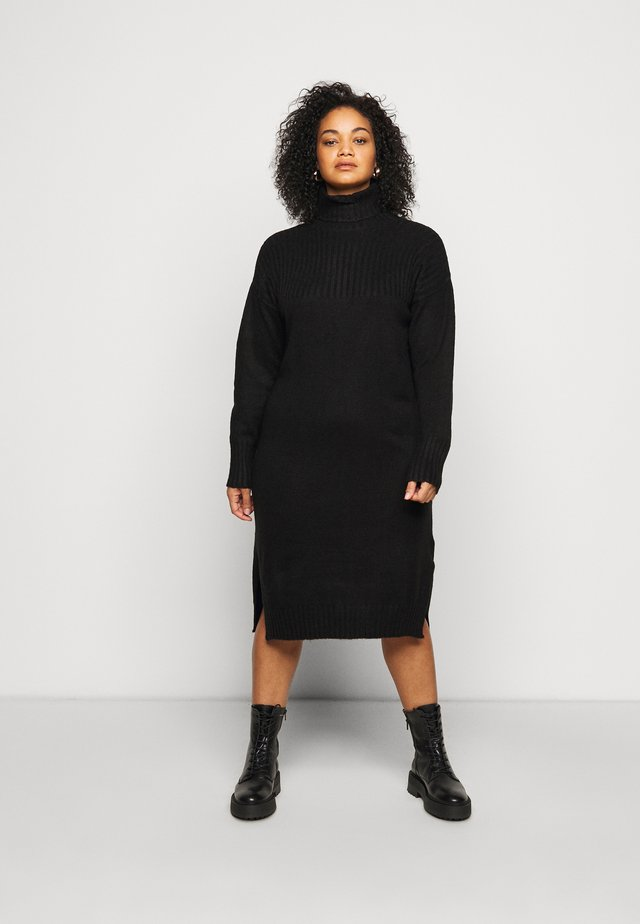 YOKE ROLL NECK SWEATER DRESS - Svetr - black