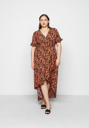 FLUTTER FLORAL MIDI DRESS - Day dress - black