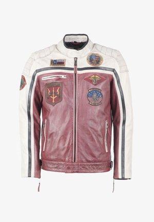 Leather jacket - oxblood/creme/black