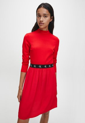 LOGO ELASTIC DRESS - Jersey dress - red hot