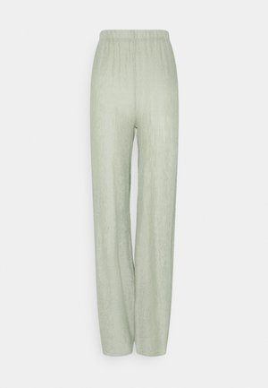 TEXTURED WIDE LEG TROUSER - Kalhoty - sage