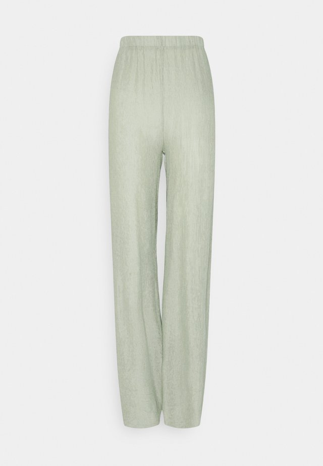 TEXTURED WIDE LEG TROUSER - Trousers - sage