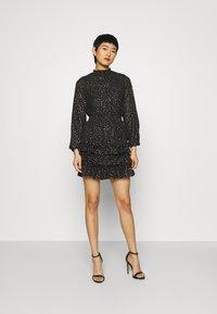 Dorothy Perkins - SPOT MINI RUFFLE - Day dress - black - 1