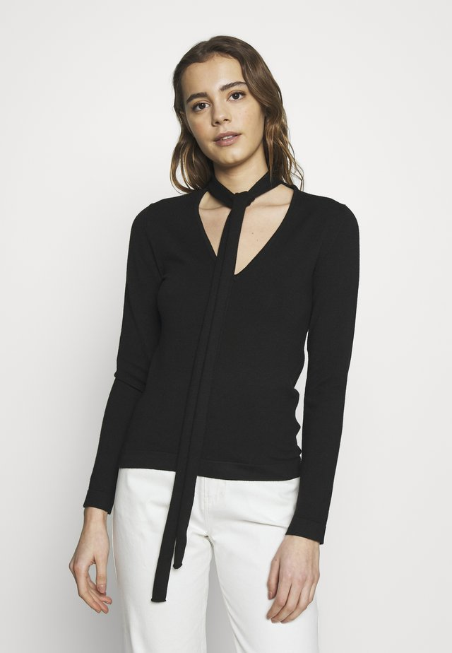 TIE NECK LONG SLEEVE - Jumper - black