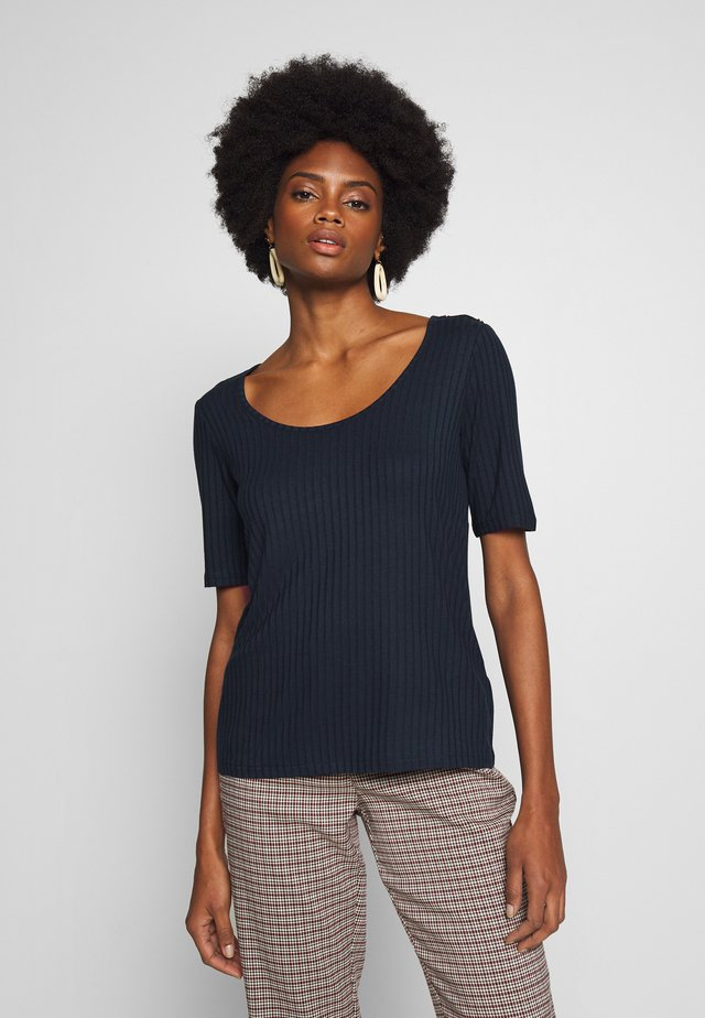 OPEN NECK RIBBED T-SHIRT WITH BUTTON DETAILS IN SLEEVE - Basic T-shirt - navy