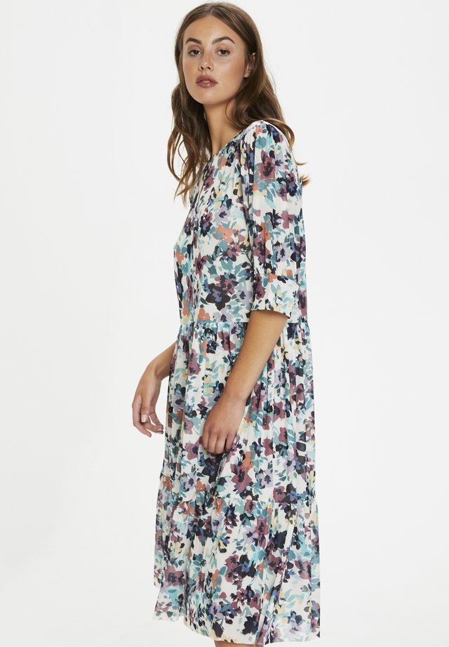 Sukienka letnia - vivid floral print white