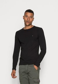 Tommy Hilfiger - STRETCH LONG SLEEVE TEE - Long sleeved top - black - 0