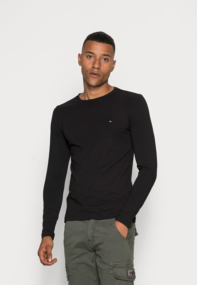 Tommy Hilfiger - STRETCH LONG SLEEVE TEE - Long sleeved top - black