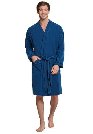 MIT DEKORATIVEN PASPELN UND SEITENTA - Dressing gown - nachtblau
