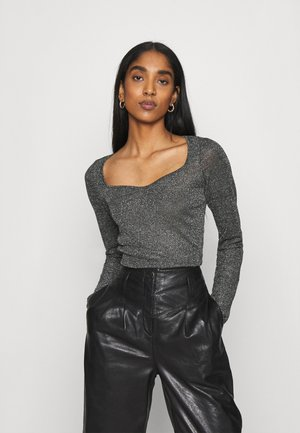 SWEETHEART NECK BODYSUIT - Long sleeved top - black