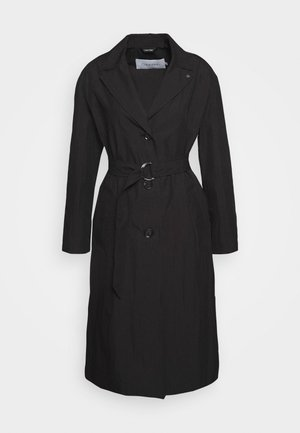 OPEN COLLAR PAPER - Trenchcoat - black