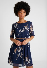 Vero Moda - VMCARINA BELT SHORT DRESS - Day dress - black iris/gabby - 0
