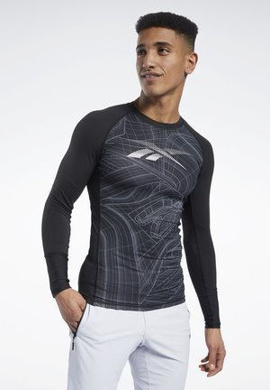 COMPRESSION PRINTED LONG SLEEVE TEE - Long sleeved top - black