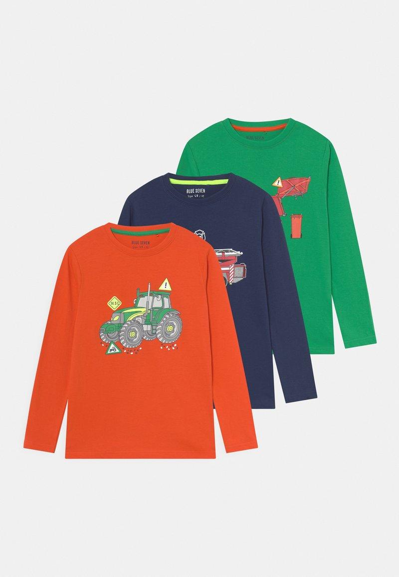Blue Seven - KIDS SMALL BOYS 3 PACK - Langarmshirt - orange/dunkel blau/grün