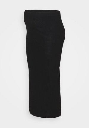 OLMNELLA LONG SLIT SKIRT - Maxi skirt - black