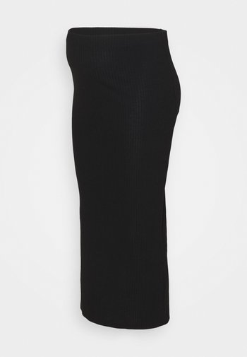OLMNELLA LONG SLIT SKIRT - Długa spódnica - black