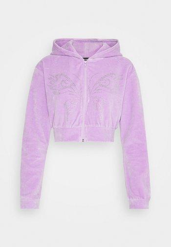 DIAMANTE BUTTERFLY HOODIE - Zip-up sweatshirt - lilac