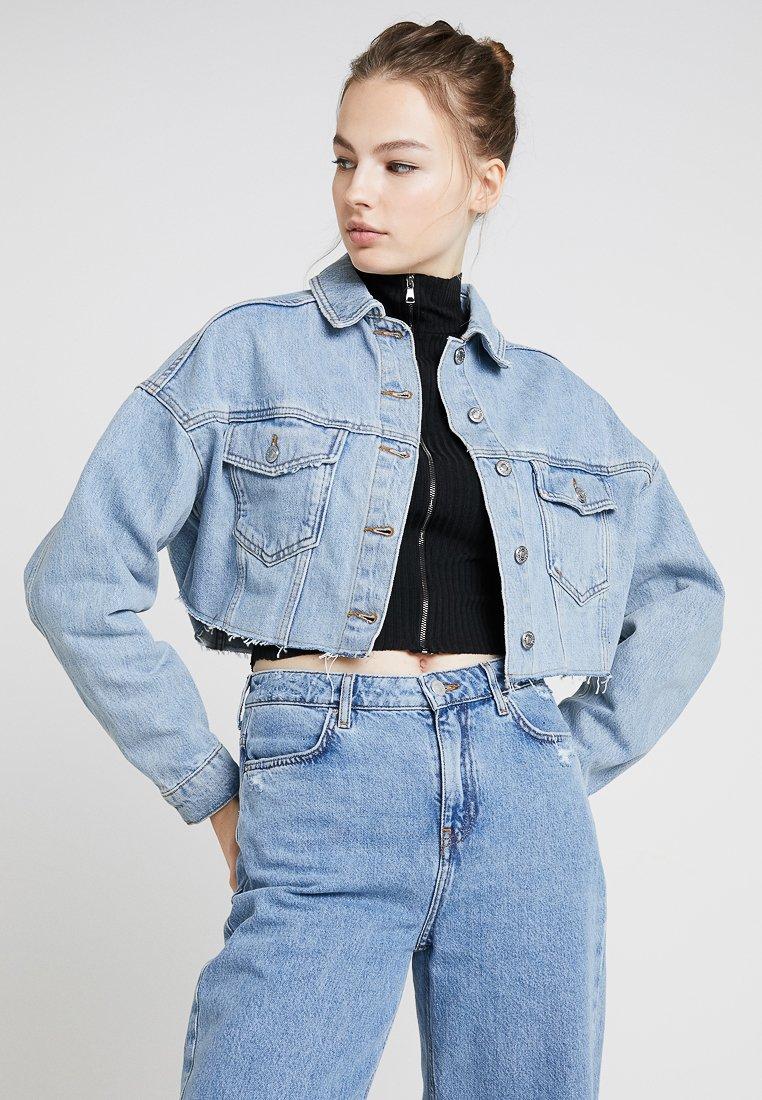Topshop - HACKED OFF CROP - Denim jacket - blue denim