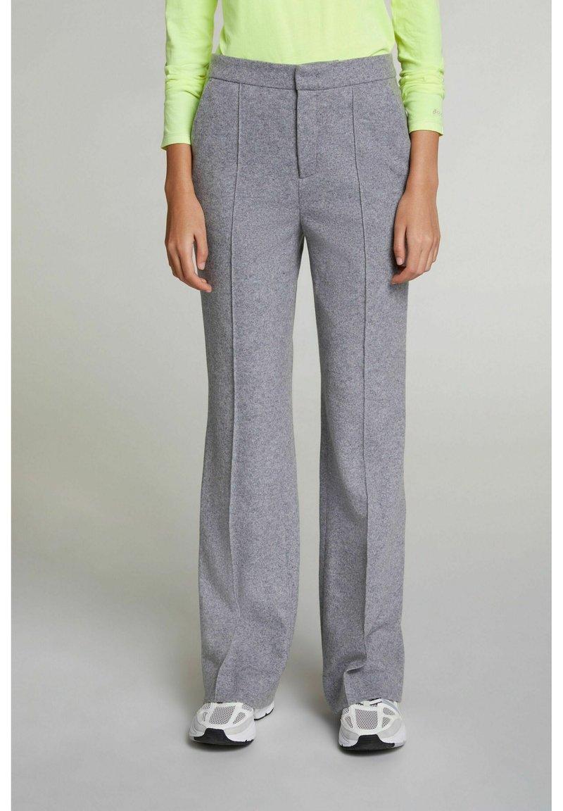Oui - Trousers - grey melange