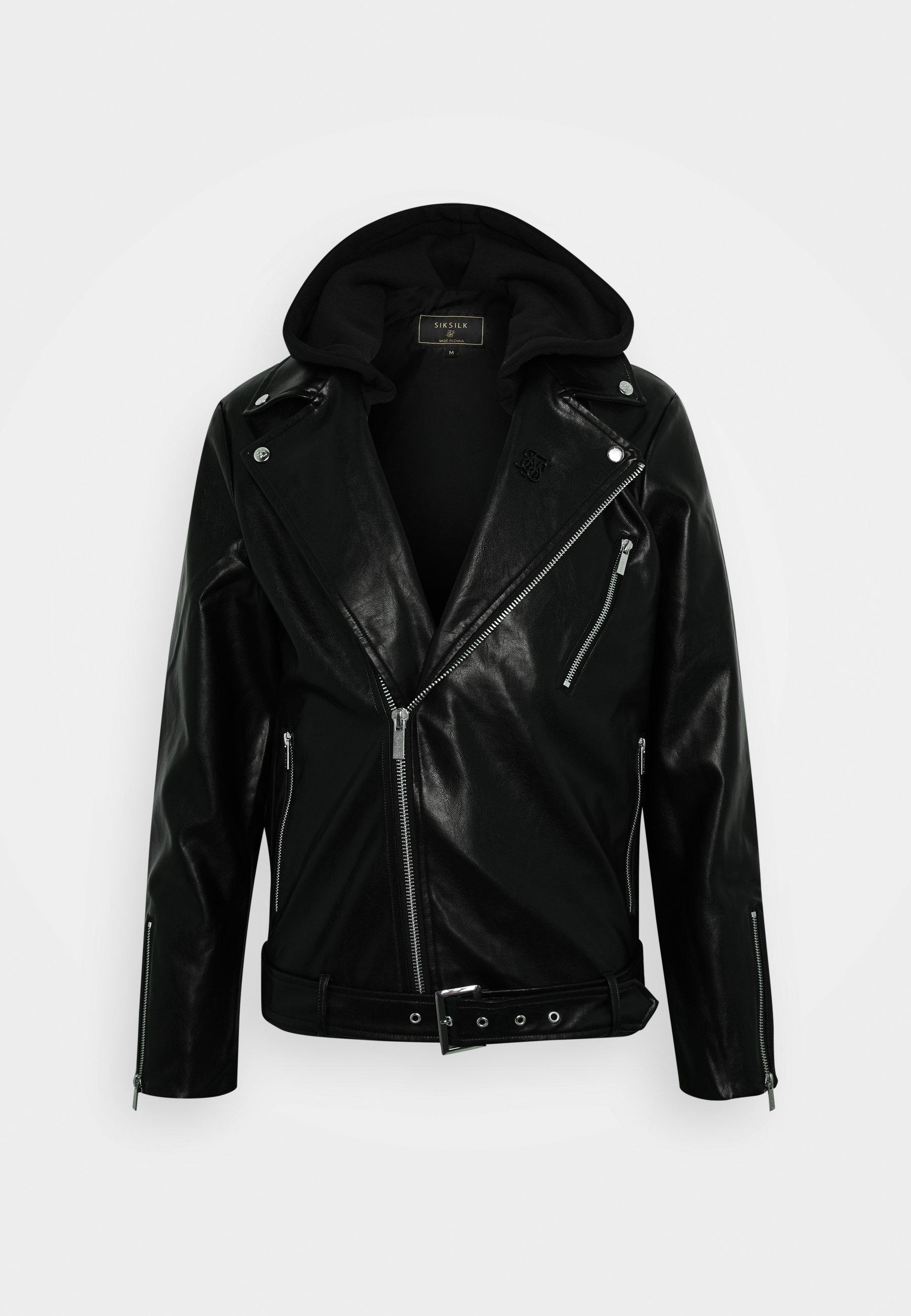 Siksilk Biker - Imitert Skinnjakke Black/svart