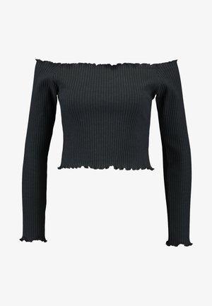 PAMELA REIF LETTUCE HEM BARDOT CROP - T-shirt à manches longues - black