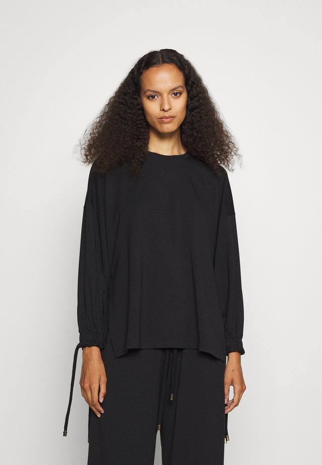 WITH ROPE TIE CUFFS - Long sleeved top - black